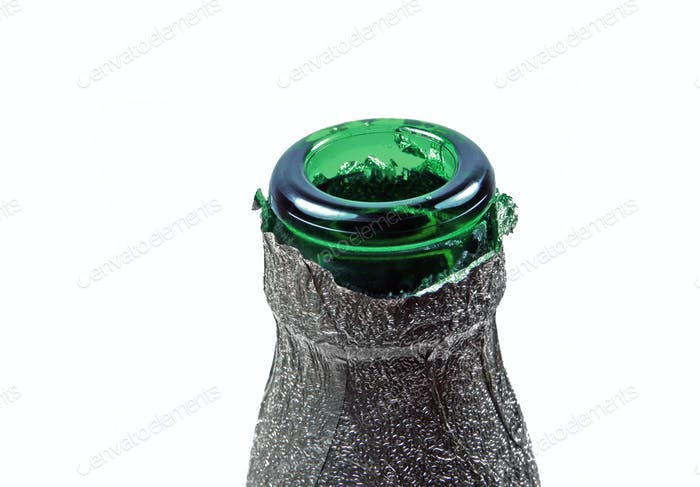 Neck of green bottle