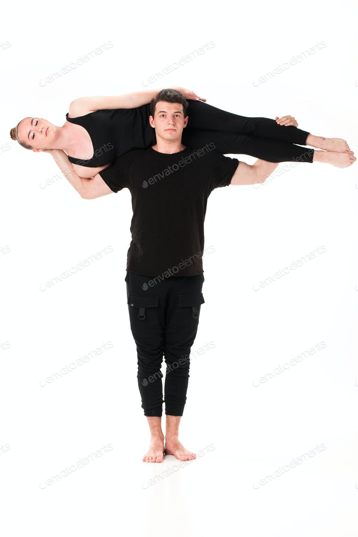 Thumbnail for The letter T formed by Gymnast bodies