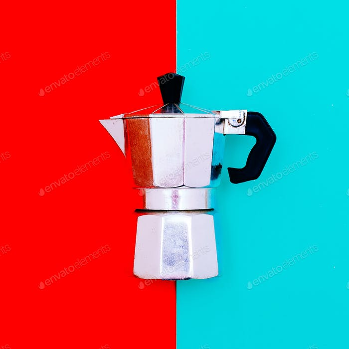 Kitchen accessories. Coffee makerMinimal art style