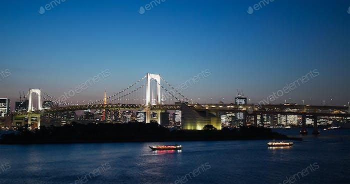 Tokyo, Japan, 02 July 2019: Odaiba city skyline in the evening