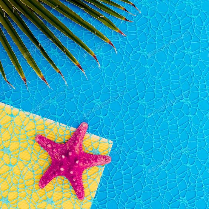 Starfish and palm background. Minimal fashion art