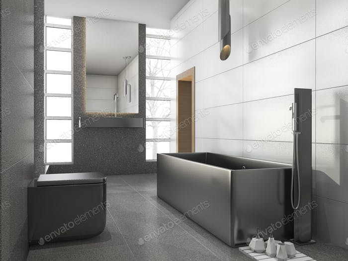 3d rendering grey stainless metal bathroom with white tile and stone tile