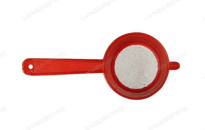 Red plastic colander