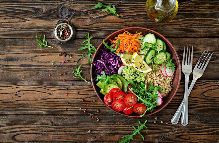 Vegetarian Buddha bowl with quinoa and fresh vegetables