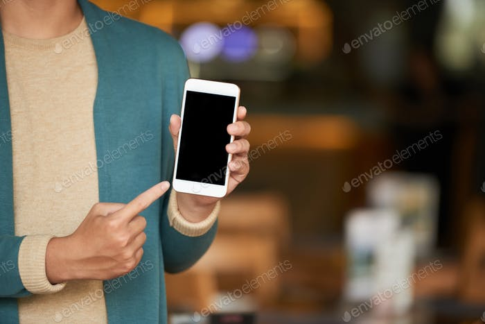 Man showing smartphone