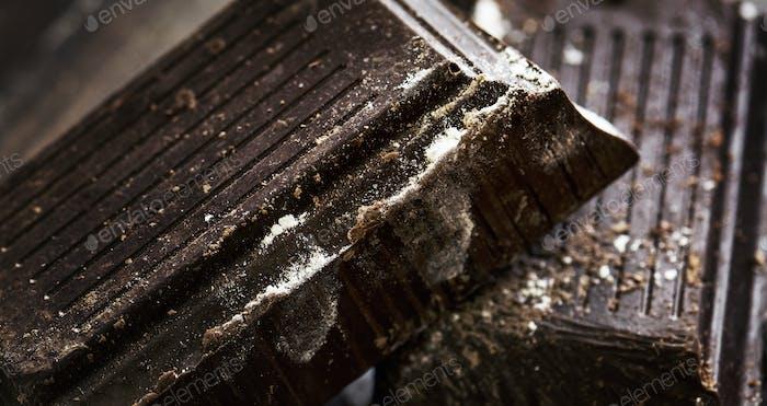 Closeup of dark chocolate bars