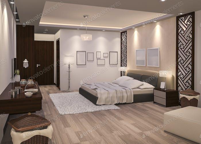 3d rendering night bedroom with parquet floor