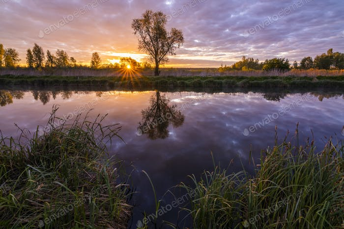 Beautiful spring sunrise on the river. Beautiful spring landscape