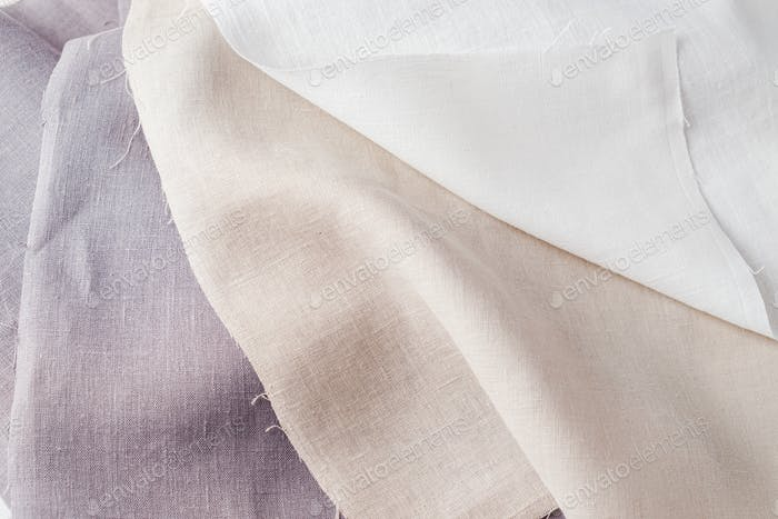 Linen fabric on white background