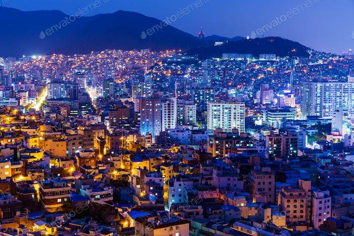 Busan city in South Korea at night