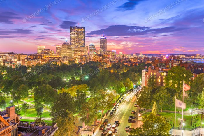 Boston, Massachusetts, USA downtown skyline over the park