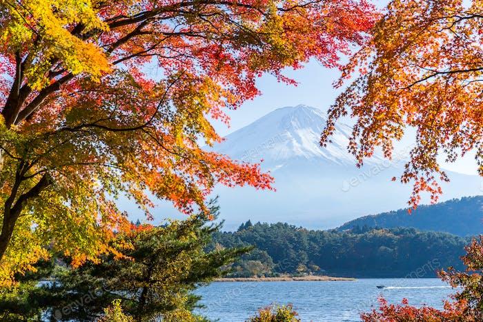 Гора Фудзи в осенний сезон