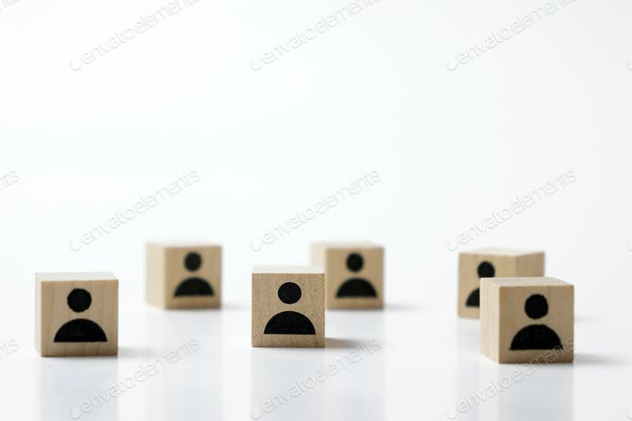 Group of wooden cube block with icon people