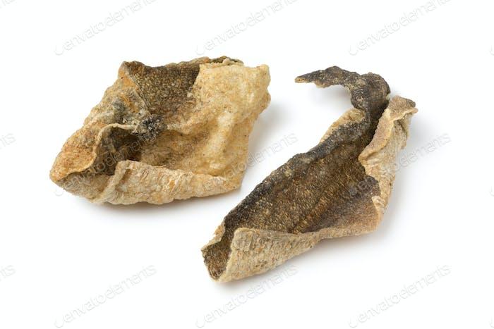 Knusprige gebackene und gewürzte Lachshaut