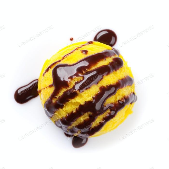 Ice cream scoop with chocolate