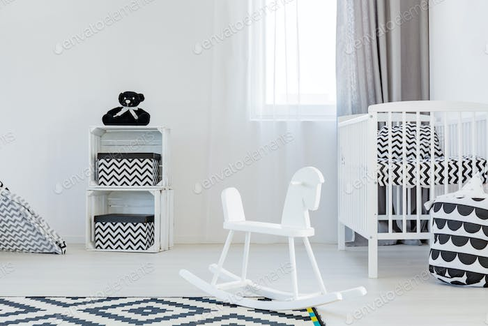 Child room with rocking horse