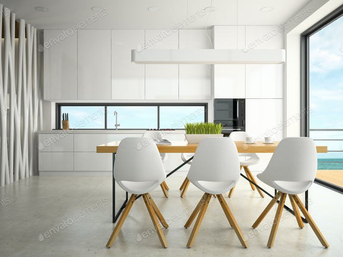 Interior of modern design kitchen 3D rendering
