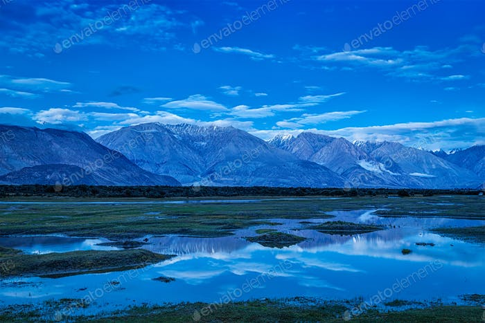 Nubra valley in twilight. Ladah, India