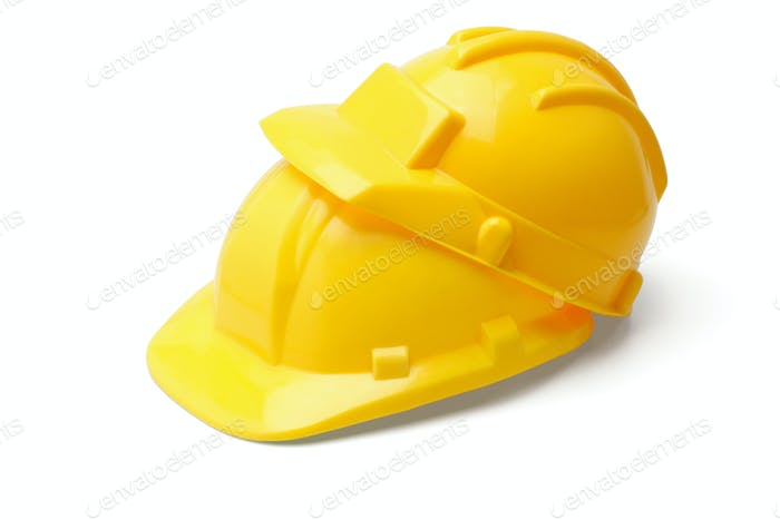 Yellow safety helmets