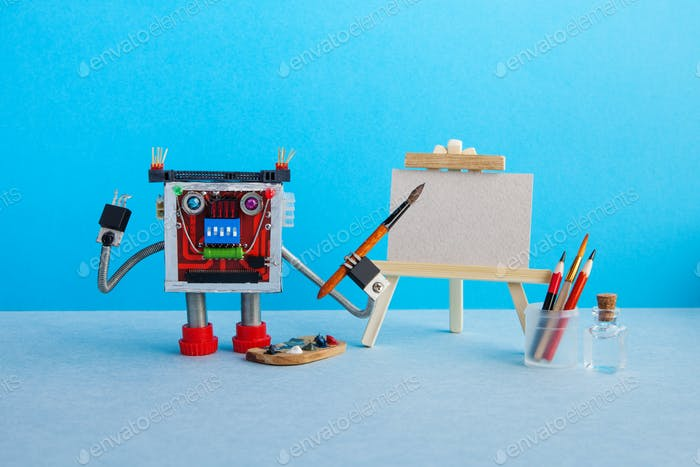 Advertising poster studio school of visual arts and drawing. Robot artist with brush paints palette