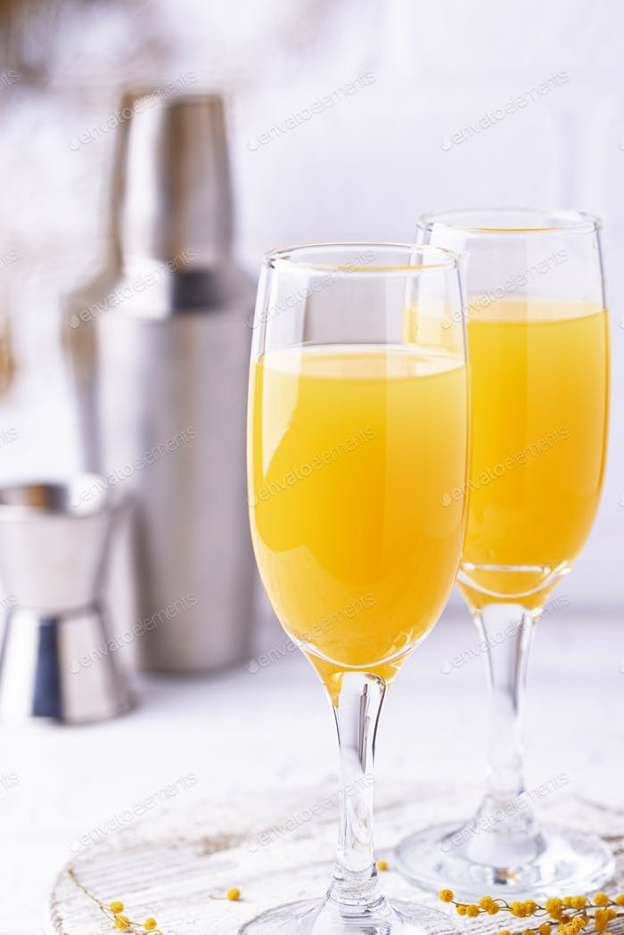 Mimosa cocktail with orange juice