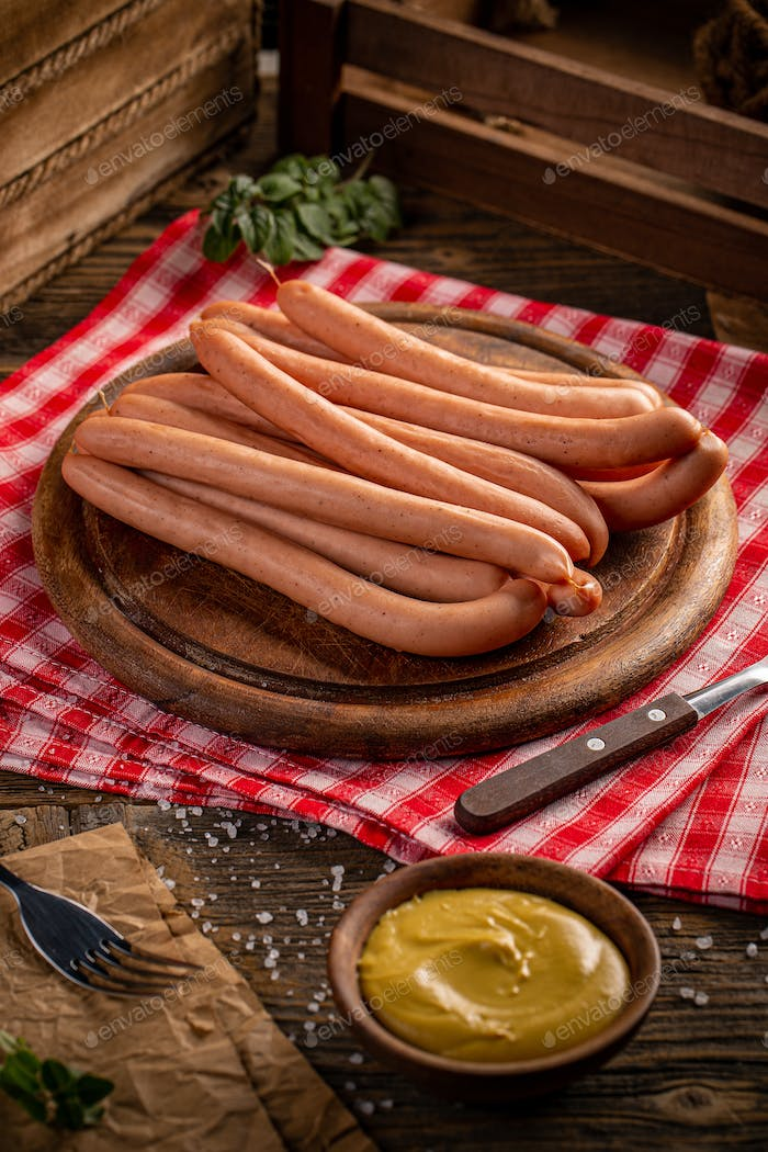 Traditional boiled Frankfurter sausages