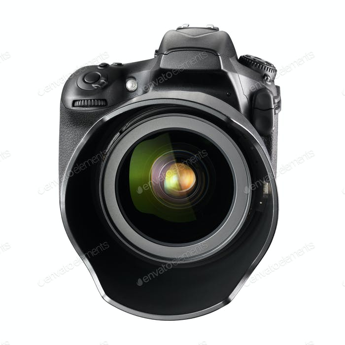 Black professional DSLR camera isolated