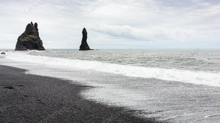 Reynisdrangar basalt rocks on Reynisfjara Beach