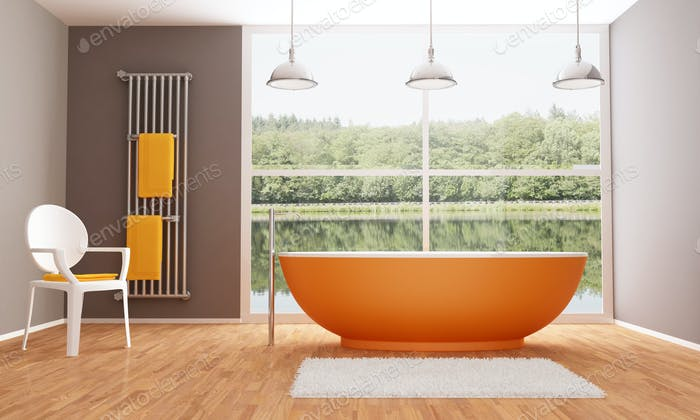 Braunes und orangefarbenes modernes Badezimmer