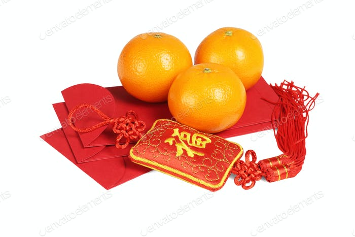 Chinese New Year Ornament and Mandarin Oranges
