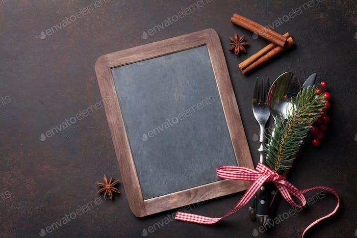 Tafel für Ihr Weihnachtsmenü