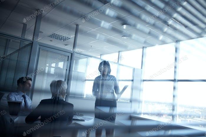 Meeting in dark room