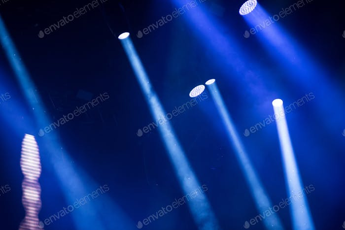 Bright stage lights during a live concert