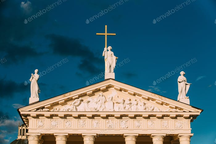 Vilnius Lithuania. Close Pediment Of Cathedral Basilica Of St. S