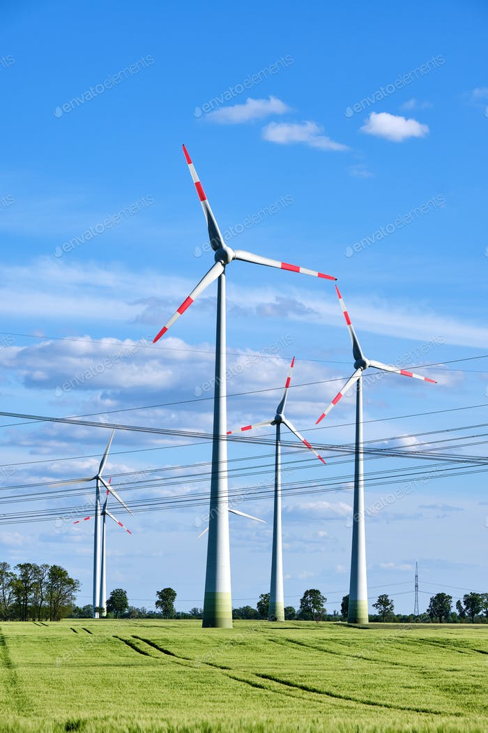 Wind power plants and overhead power lines