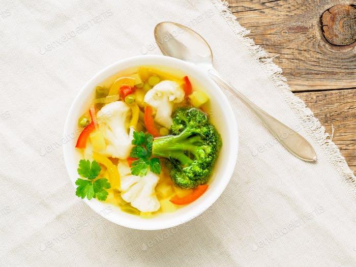 Bright spring vegetable dietary vegetarian soup