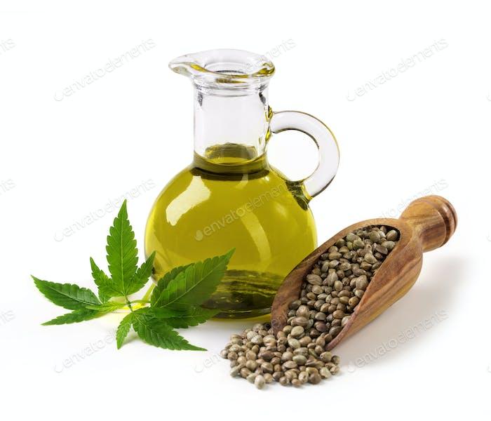 Hemp oil n a glass jar