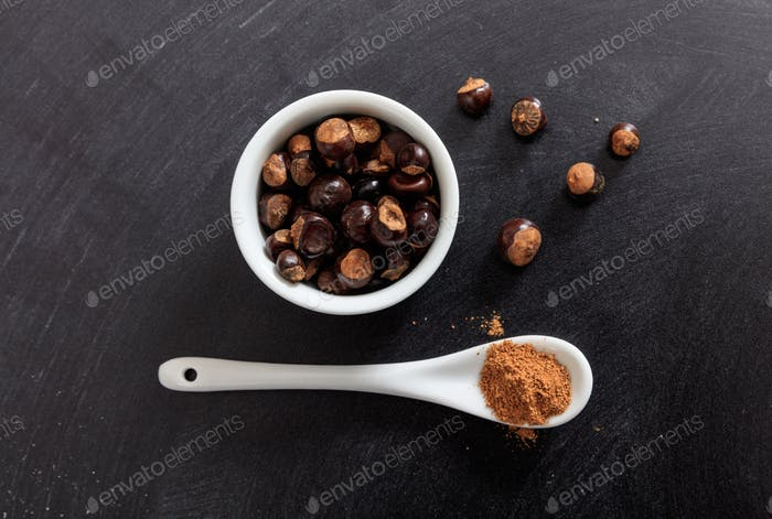 Guarana seeds and powder in porcelain bowl and spoon
