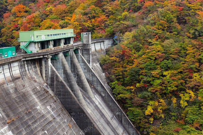 Herbstlandschaft und Staudamm