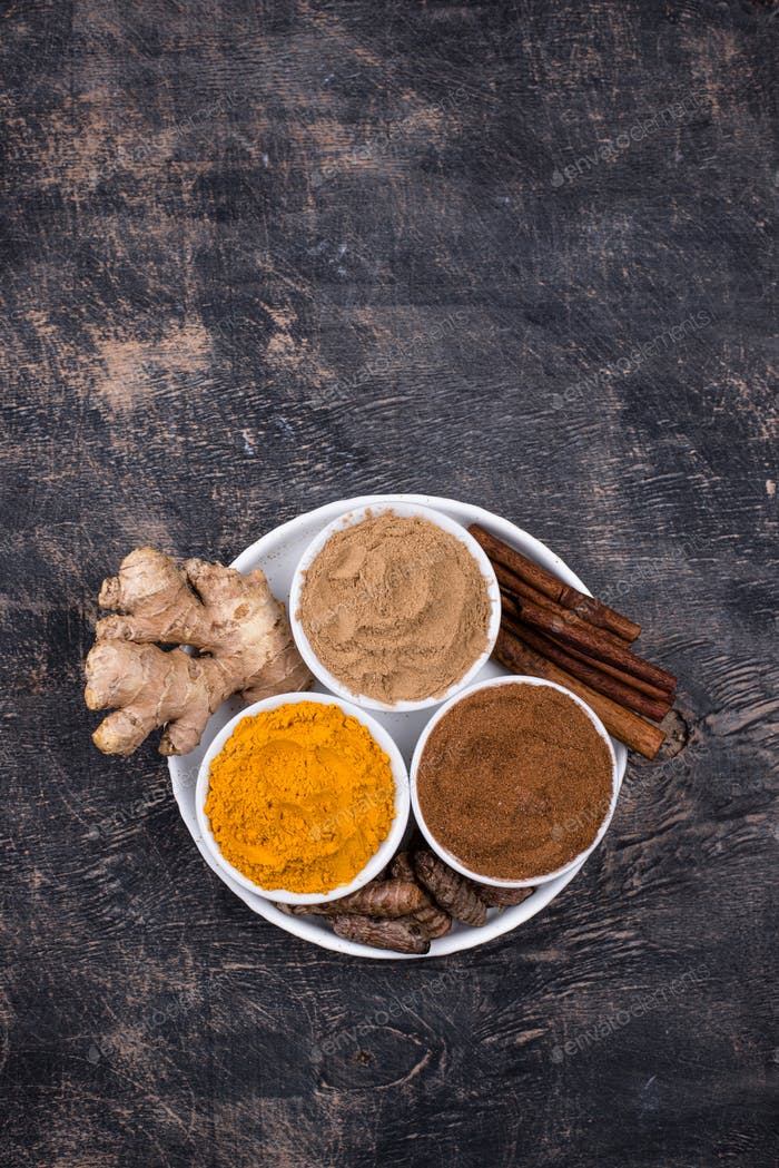 Powder of turmeric, cinnamon and ginger