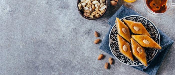 Baklava. Ramadan Dessert. Traditional Arabic dessert with nuts and honey