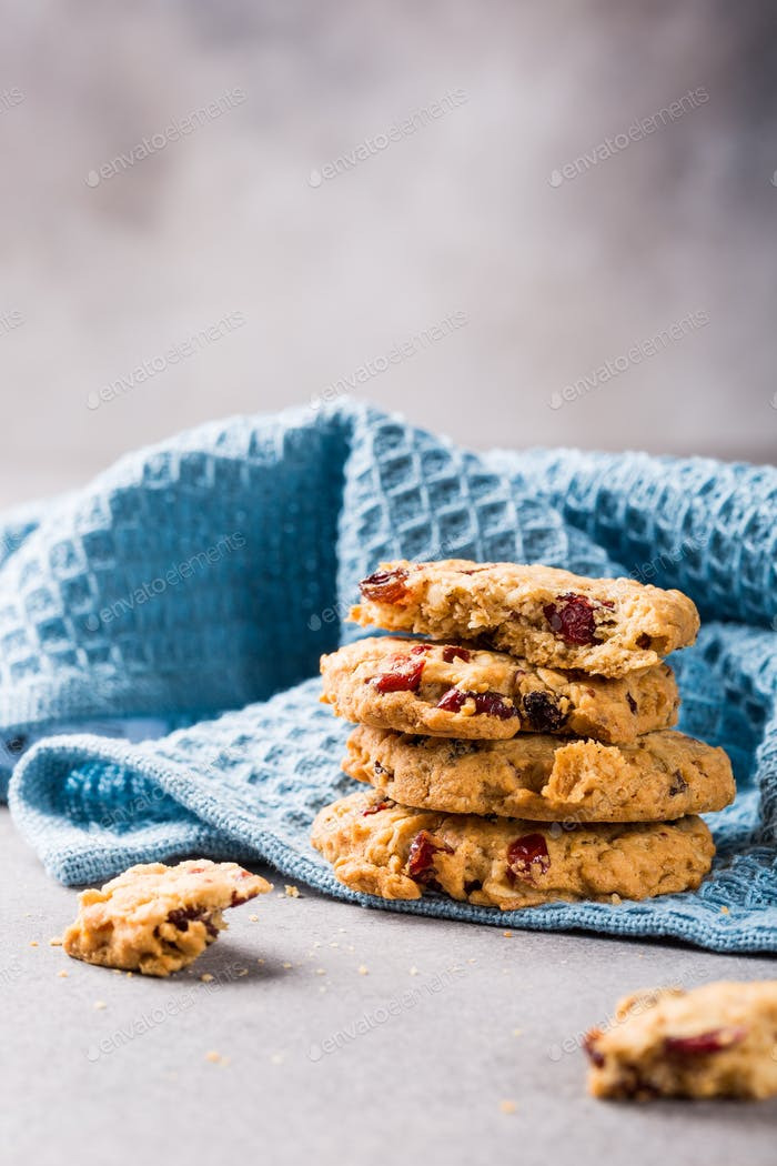 Oat meal cookies with raisins and cranberries