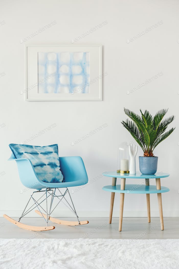 Blue and white flat interior