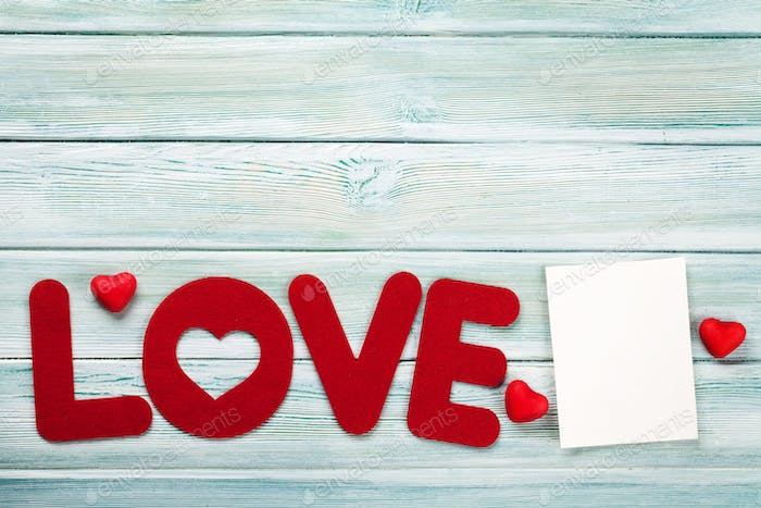 Valentines day greeting card with love word