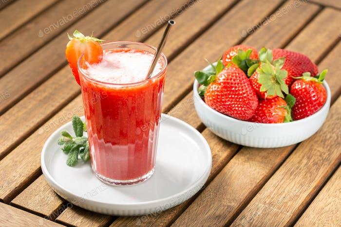 Sweet fresh strawberry juice