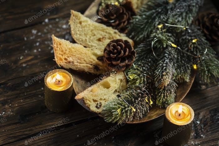 Traditional Italian panettone
