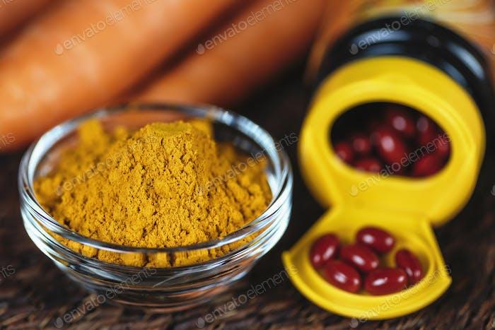 Beta Carotin Ergänzung Pillen und Gemüse