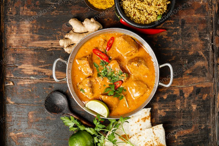 Traditional curry and ingredients