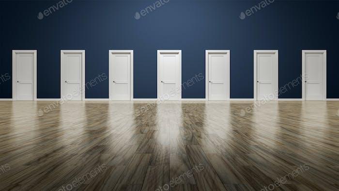 una habitación con siete puertas para elegir