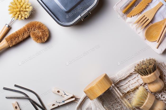 Zero waste set of plastic free and reusable kitchen utensils